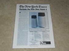 Ohm Walsh 4, Walsh 2 Speaker Ad, 1 page, Review, Specs, Article, 1984