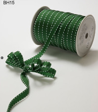 "3/8"" Grosgrain Stitched Edge Ribbon – May Arts -Green/White - BH15 - 5 yds"