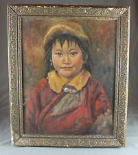 Portrait Oil Painting Eskimo Child early 20th Century Signed
