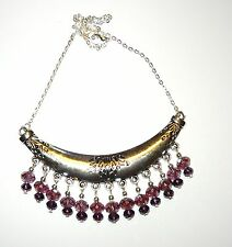 HANDCRAFTED UNIQUE STATEMENT COLLAR NECKLACE WITH PURPLE DROPS