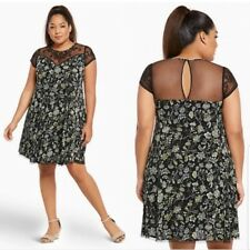 bfa49b59a5bf7 Torrid Floral Print Embroidered Lace Gauze A Line Dress Size 3 3X NEW
