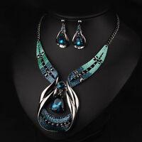 New Womens Girl Blue Gemstone Crystal Drop Pendant Necklace Earrings Jewelry Set