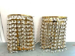 pair vintage brass and crystal drops wall lights