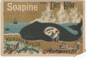 Soapine Household Cleaner Dirty Whale on Ice Flow with Ship Victorian Trade Card
