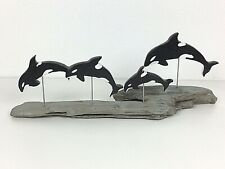 Killer Whales Orca Driftwood Sculpture Art Nautical Beach Home Decor Ocean OOAK