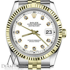 Men's Rolex 36mm Datejust 2 Tone White Color Dial with Diamond Accent RT