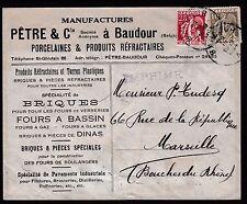 Belgium - MAGNIFICENT PORCELAIN ADVERTISING ENVELOPE 1934 BAUDOUR to MARSEILLE