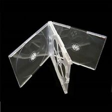 100 High Quality 10mm Quad Multi-4 CD Jewel Cases with Clear Tray Slim4CDClear