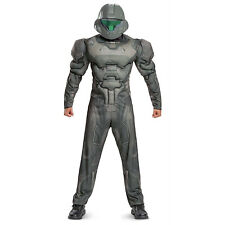 Men's Halo Spartan Classic Buck Halloween Costume Padded Muscle Jumpsuit Mask