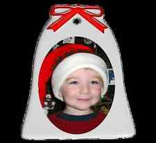 Bell Shaped Ceramic Ornament Personalized With Photo on Two Sides- Free Shipping