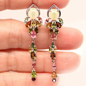 NATURAL MULTICOLOR OPAL & FANCY COLOR TOURMALINE 925 STERLING SILVER EARRINGS