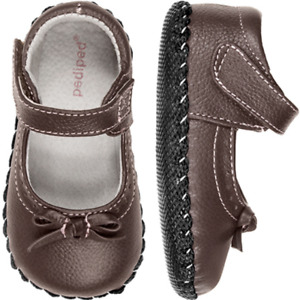 pediped Baby Girls Isabella Chocolate Brown Mary Janes Size 4-4.5 (6-12 Months)