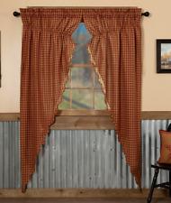 BURGUNDY CHECK Long Prairie Curtain Set Rustic Country Farmhouse VHC Brands