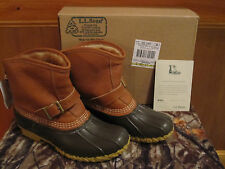 NEW Women LL BEAN Boots Lounger Buckle Tumbled Leather Shearling Lined Duck 8M