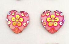 RESIN PINK FLOWER LOVE HEART STUD EARRINGS 12MM