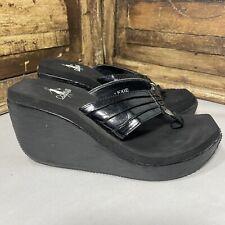 Corkys Lexie Women's Flip Flops Sandals Foam Wedge Black Silver Size 8