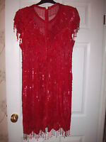 Jewel-encrusted NY Designer Laurence Kasar Red Silk Hollywood tailored gown! M/L