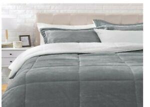 Ultra-Soft Micromink Sherpa Comforter Bed Set King Charcoal - 3 Pcs