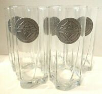 Knights of Columbus Council Tall Drinking Glasses With Pewter Logo Lot of 5