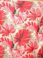 Vtg Mid Century Modern Retro Bright Pink Bold Floral Chintz (4 yds long) Cotton