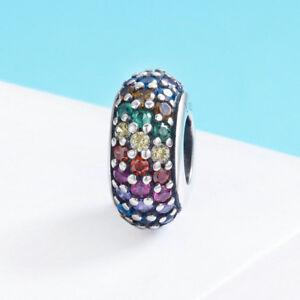 Sparkling Rainbow Crystal Charm Bead 925 Silver Zirconia Round European Pendant
