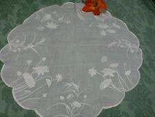 vintage=napperond lin ,neuf ,55x55cm lin brodé soie main  épis et lesfleurs ..