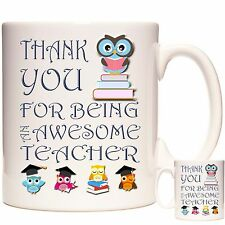 THANK YOU FOR BEING AN AWESOME TEACHER GIFT MUG Can Be Personalised