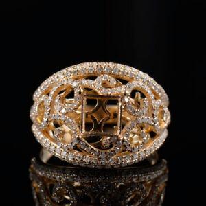 14K Yellow Gold Natural Diamond Semi Mount Engagement Ring Princess Cut 6×6mm