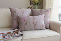 Shabby Chic French Country Cottage Floral Purple Sofa Throw Pillow Cushion Cover