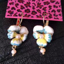 Rare Betsey Johnson $6.99 Flower Pansy Earrings  & Free Gift