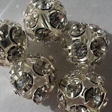 Modeschmuck 10 Metallperle Perle 10mm Farbe hellsilber Zwischenperle mit Steinen