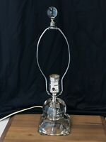 Vtg Small Crystal Glass Ball Table Lamp Art Deco Boudoir Desk Bedside, Hollywood