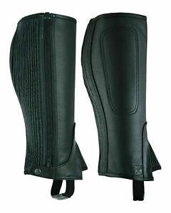 LuxHide Unisex Adults Top-Grain Cow Premium Leather Half Chaps Black and Brown