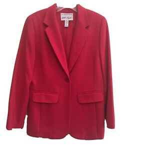 Lord & Taylor Womens Red Blazer Wool Cashmere Blend Sz 6 Beautiful Condition