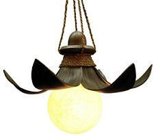 Deckenlampe 50cm Lampe Aus Natur Holz Palmenblatt Afrika Wohnzimmer Schlafzimmer
