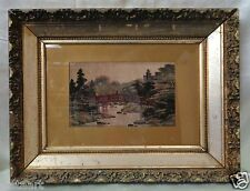 Japanese Landscape Art on Silk w/ Beautiful Gold Vintage Wood Frame- 16x21""