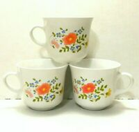 Vintage Corelle Corning Ware Wildflower Coffee Mug Tea Cup Floral Set of 3