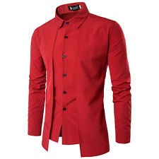 Mens Long Sleeve Shirt Casual Slim Fit Leisure Dress Shirts Button Tops T-shirts