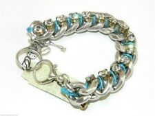 Fossil Glitz Bracelet Silvertone Chunky Chain Link Crystals Aqua Cord New! NWT