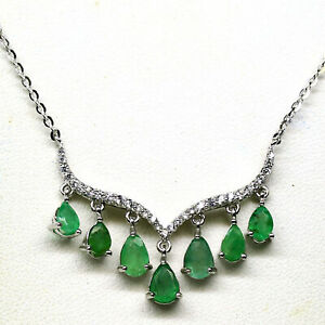 """NATURAL GREEN EMERALD & WHITE CZ PENDANT & NECKLACE 19"""" 925 STERLING SILVER"""