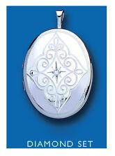 Silver Locket Sterling silver Real Diamond Set Pattern Oval Locket UK Made