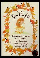 1059-MSA Cat Kitten Tabby /'Granddaughter/' Thanksgiving Greeting Card NEW