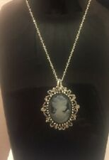 Cameo silver Necklace Chain Diamante Antique Vintage Style