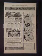OLD VINTAGE~ South Bend Machinist Tool Machine Lathe 1930 ART PRINT AD~ ANTIQUE
