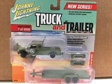 Johnny Lightning 1/64 Truck & Trailer ARMY Ford F250 & Car Trailer - JLBT006 VA