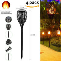 4pc 96LED Flame Solar Torch Light Waterproof Flickering Dancing Path Garden Lamp