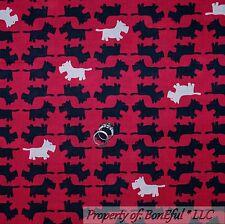 BonEful Fabric FQ Cotton Quilt Pink Black White SCOTTIE Dog B&W Stripe Westie US