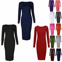 WOMENS LADIES LONG SLEEVE PLAIN JERSEY STRETCH BODYCON MIDI MAXI DRESS