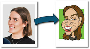1 Person Digital Caricature From Photo - Personalised - Digital File