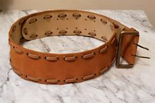 """Vintage WCM NY L Hip 3"""" Wide Solid Suede Leather + leather weaving throughout"""